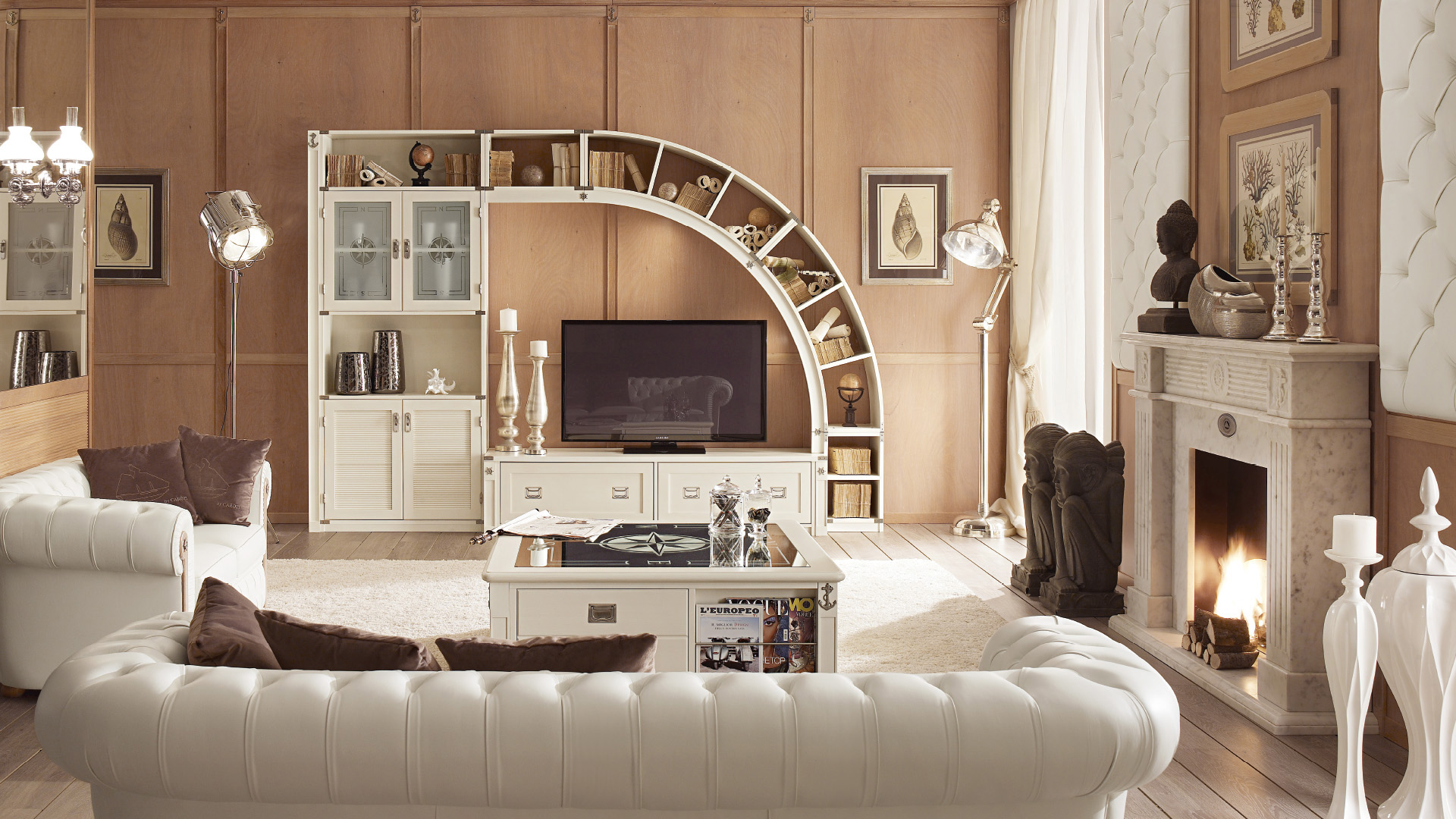 Parete attrezzata soggiorno stile classico sospesa for Arredamento stile classico