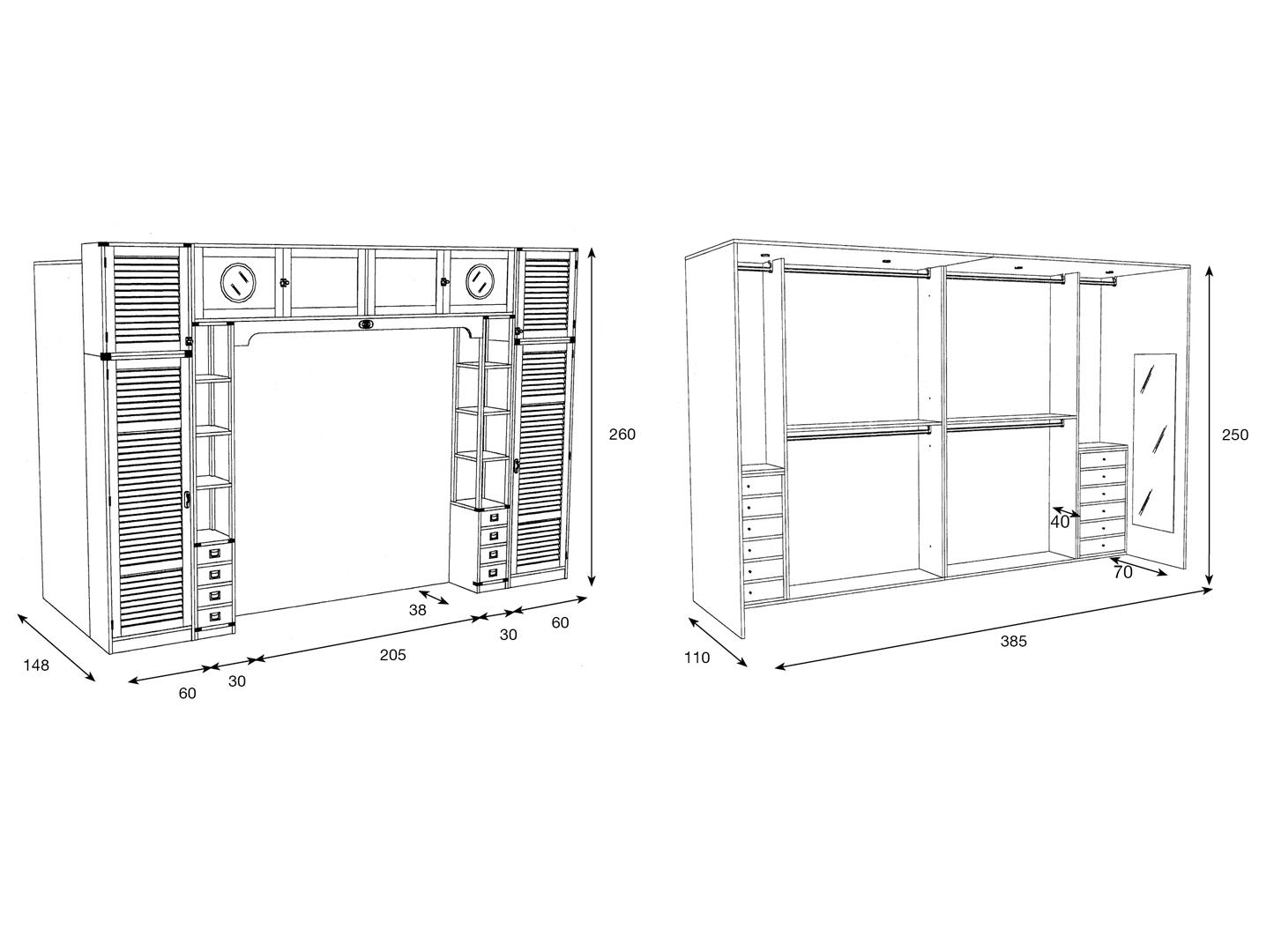 Proposta 600 caroti for Dimensioni armadio camera